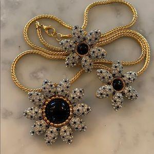 Gem Craft rhinestone pin pendant clip earring set
